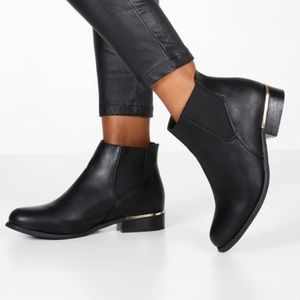 Faux Leather Gold Metal Trim Boots